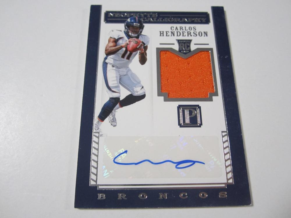 2017 PANINI FOOTBALL CARLOS HENDERSON PIECE OF GAME USED SIGNED BRONCOS JERSEY CARD