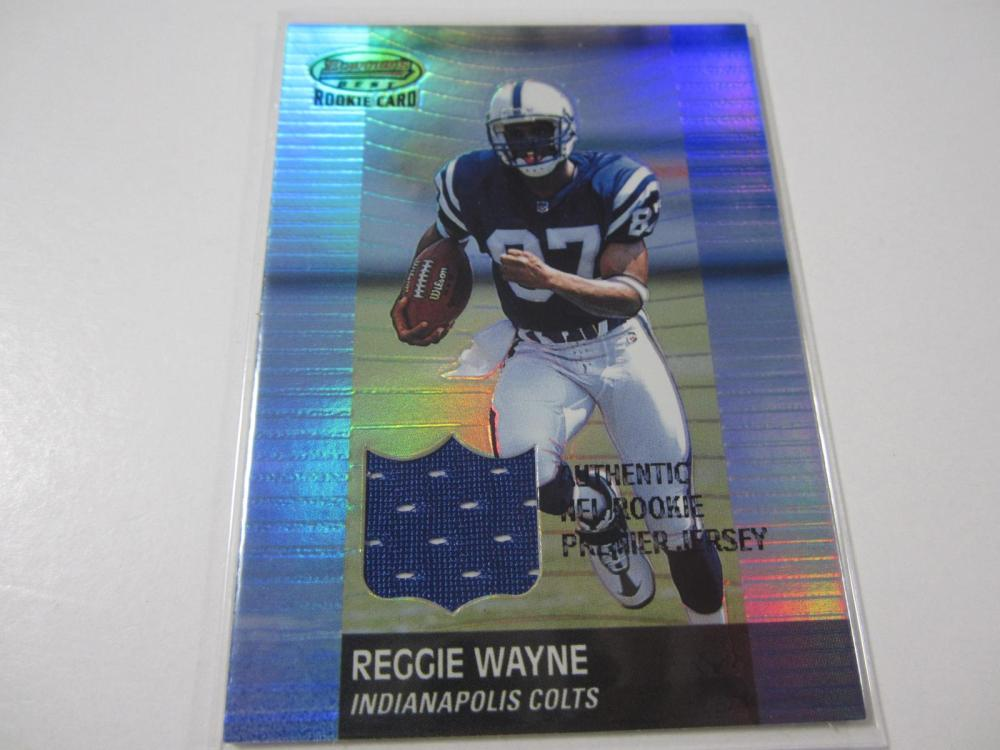 2001 TOPPS FOOTBALL REGGIE WAYNE PIECE OF GAME USED JERSEY CARD