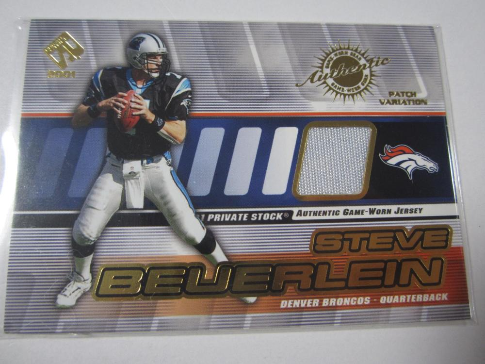 2001 PACIFIC FOOTBALL STEVE BEUERLEIN PIECE OF GAME USED JERSEY CARD
