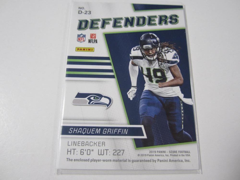 Lot 9: 2019 PANINI FOOTBALL SHAQUEM GRIFFIN PIECE OF GAME USED JERSEY SEAHAWKS CARD