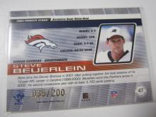 Lot 1: 2001 PACIFIC FOOTBALL STEVE BEUERLEIN PIECE OF GAME USED JERSEY CARD