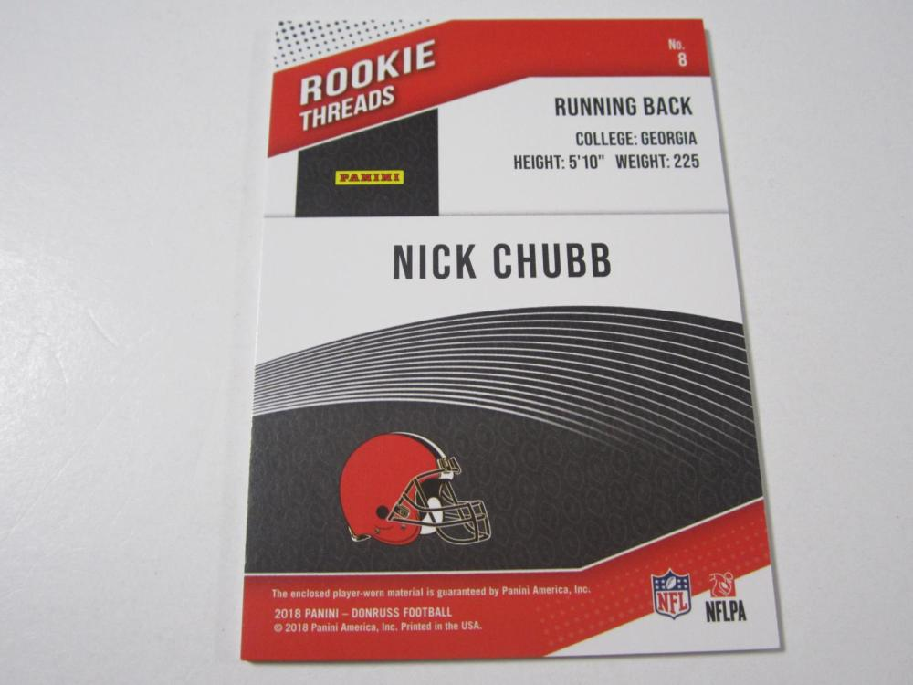 Lot 20: 2018 DONRUSS FOOTBALL NICK CHUBB PIECE OF GAME USED BROWNS JERSEY CARD