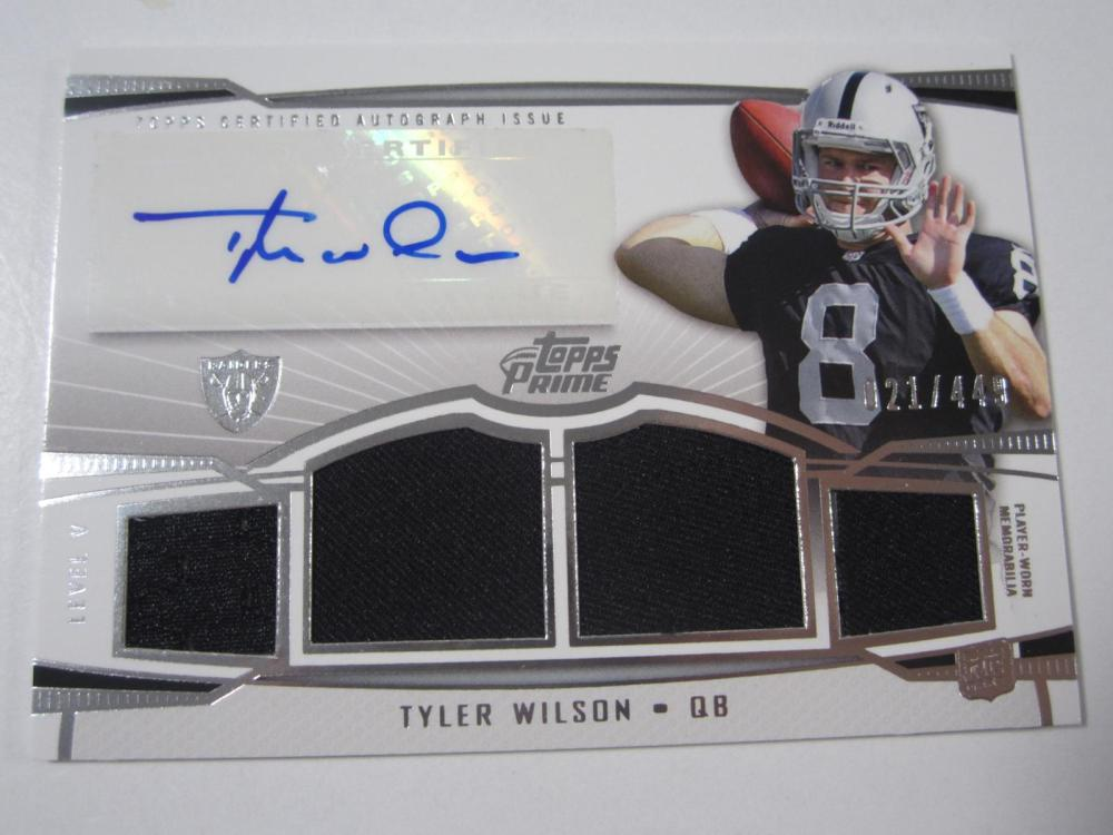 Lot 23: 2013 TOPPS FOOTBALL TYLER WILSON SIGNED PIECE OF GAME USED RAIDERS CARD