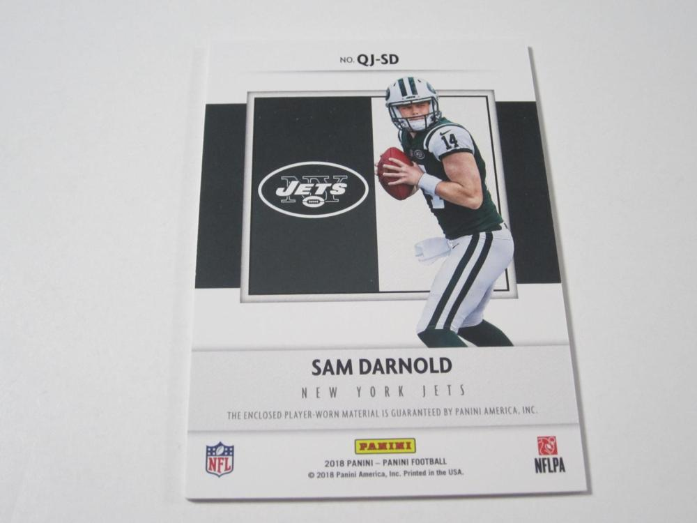 Lot 13: 2018 PANINI FOOTBALL SAM DARNOLD PIECE OF GAME USED JETS CARD