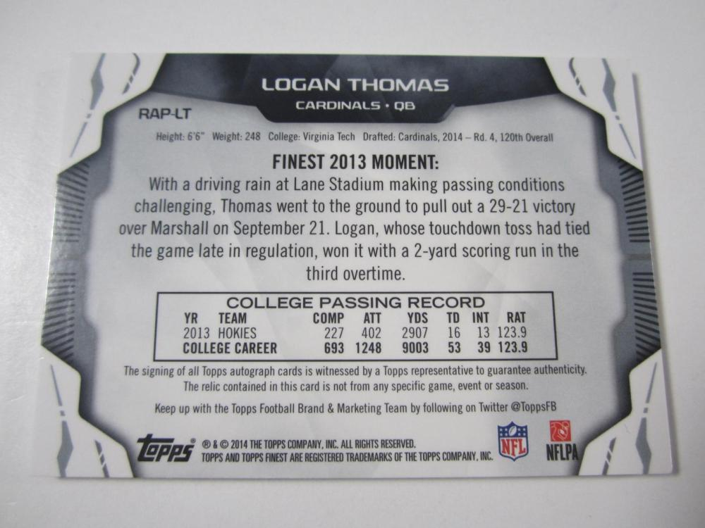 Lot 17: 2014 TOPPS FOOTBALL LOGAN THOMAS PIECE OF GAME USED SIGNED CARDINALS JERSEY CARD