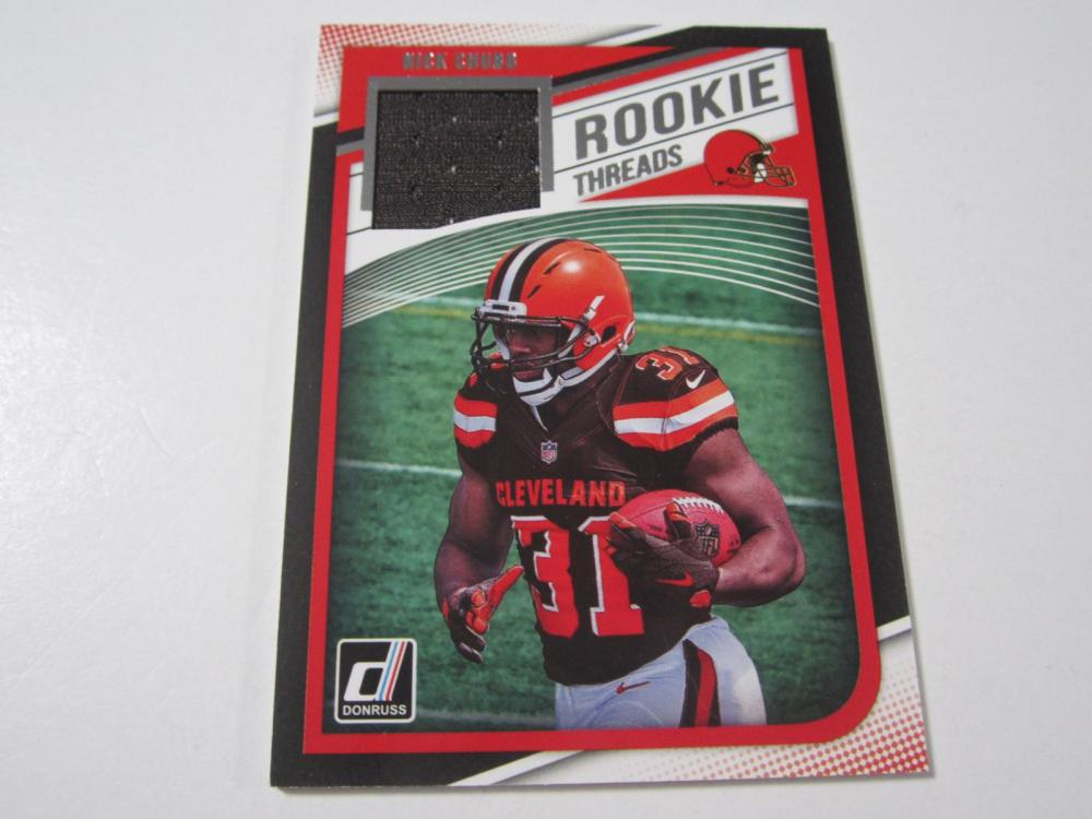 2018 DONRUSS FOOTBALL NICK CHUBB PIECE OF GAME USED BROWNS JERSEY CARD