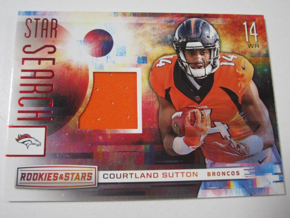 2018 PANINI FOOTBALL COURTLAND SUTTON PIECE OF GAME USED BRONCOS JERSEY CARD