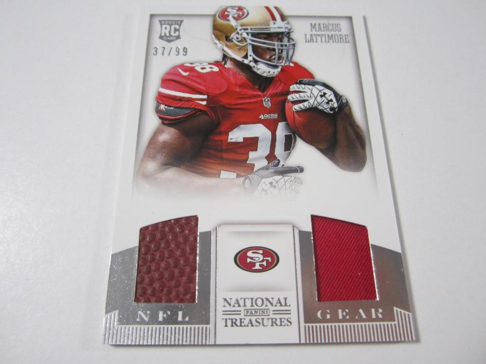 2013 PANINI FOOTBALL MARCUS LATTIMORE PIECE OF GAME USED 49ERS JERSEY/BALL CARD