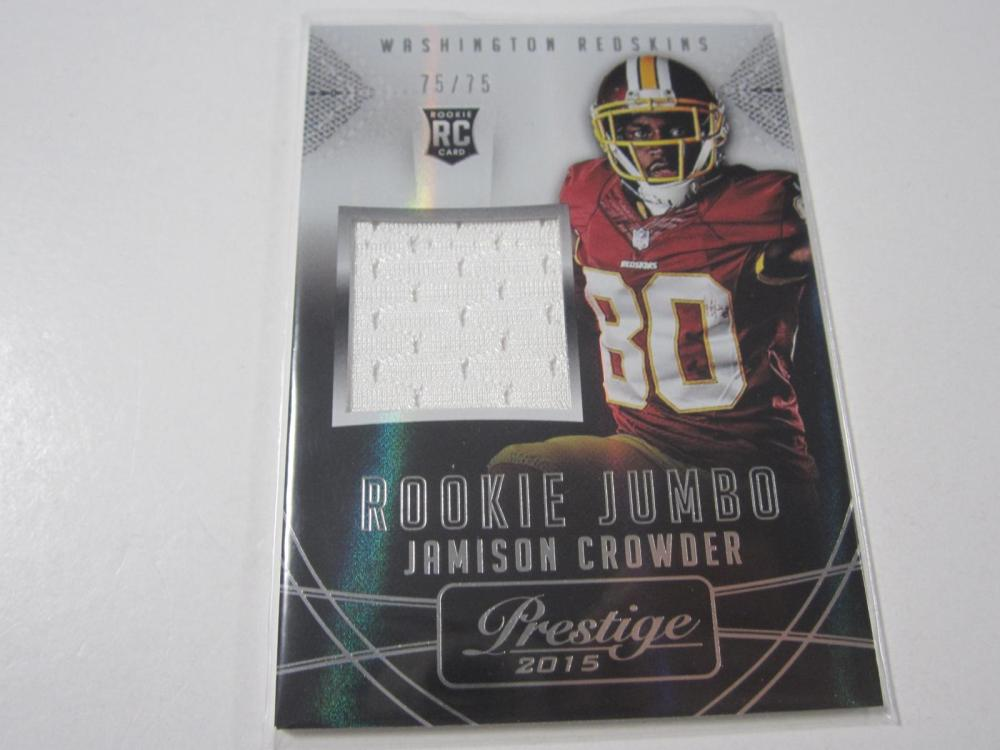 2015 PANINI FOOTBALL JAMISON CROWDER PIECE OF GAME USED REDSKINS JERSEY CARD