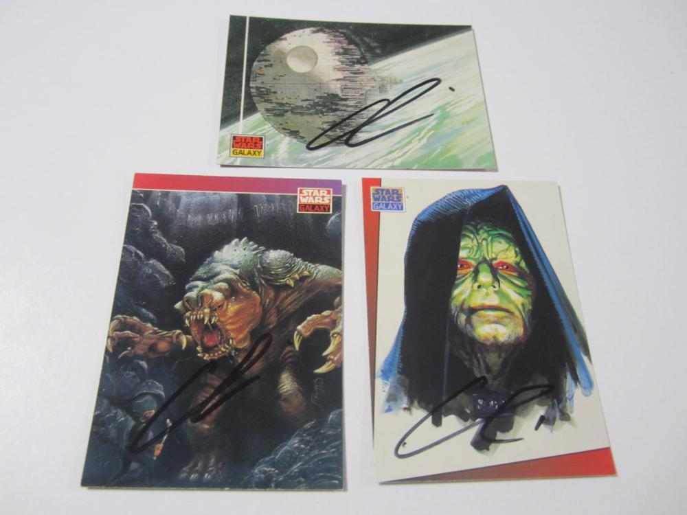 (3)STAR WARS SIGNED AUTOGRAPHED CARDS COA GEORGE LUCAS