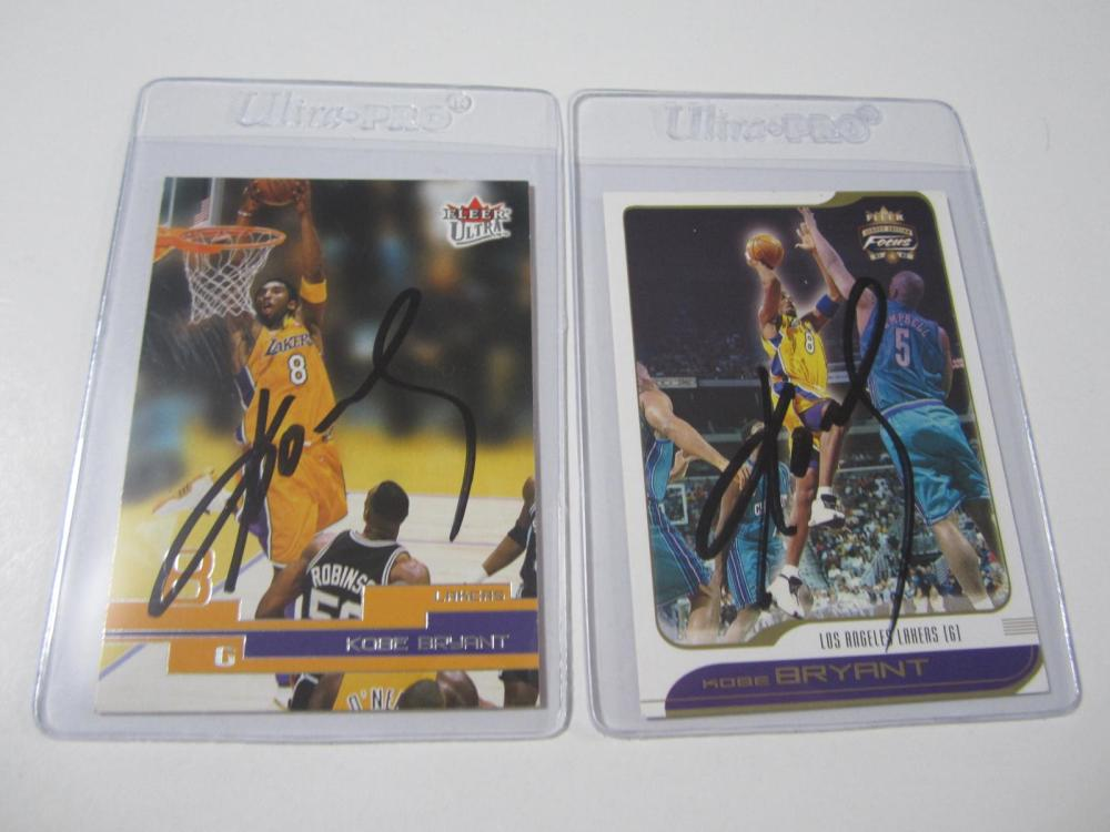 Lot 38: (2)KOBE BRYANT SIGNED AUTOGRAPHED LAKERS CARD COA