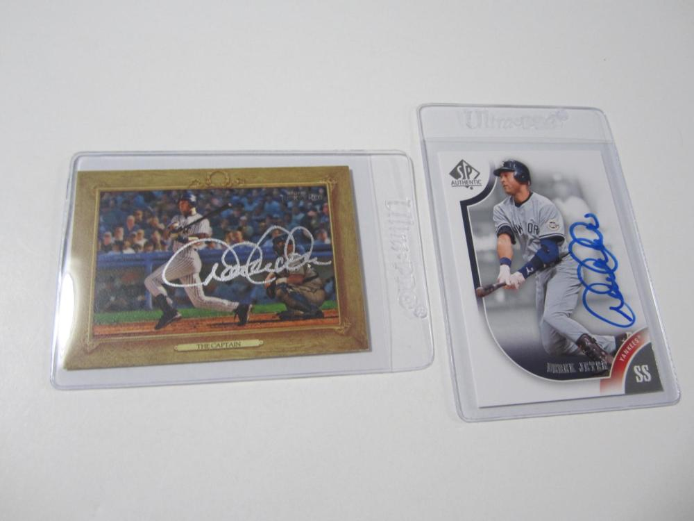 Lot 41: (2)DEREK JETER SIGNED AUTOGRAPHED YANKEES CARD COA