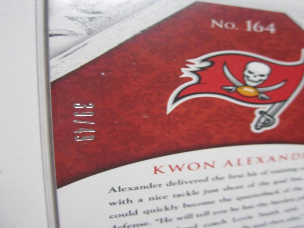 Lot 27: 2015 PANINI CROWN ROYAL KWON ALEXANDER SIGNED AUTOGRAPHED TAMPA BAY CARD 39/49