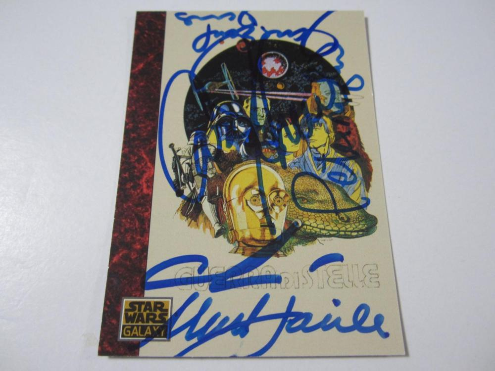 STAR WARS CAST SIGNED AUTOGRAPHED CARD COA FISHER,LUCAS,MAYHEW,JONES,HAMILL