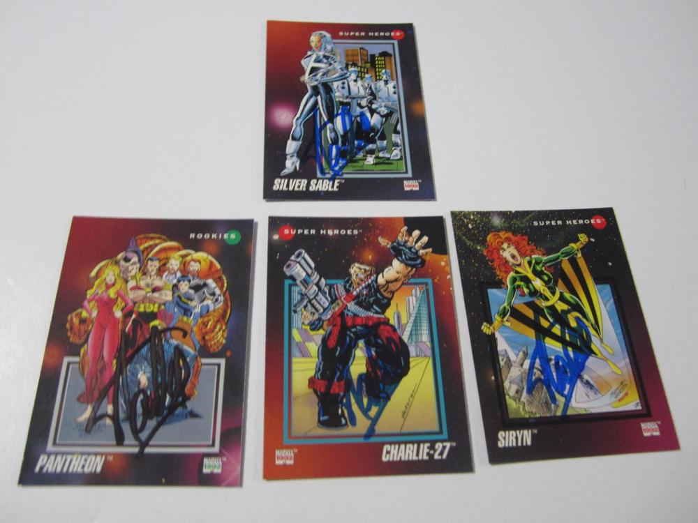 Lot 37: (4)STAN LEE SIGNED AUTOGRAPHED MARVEL CARD COA
