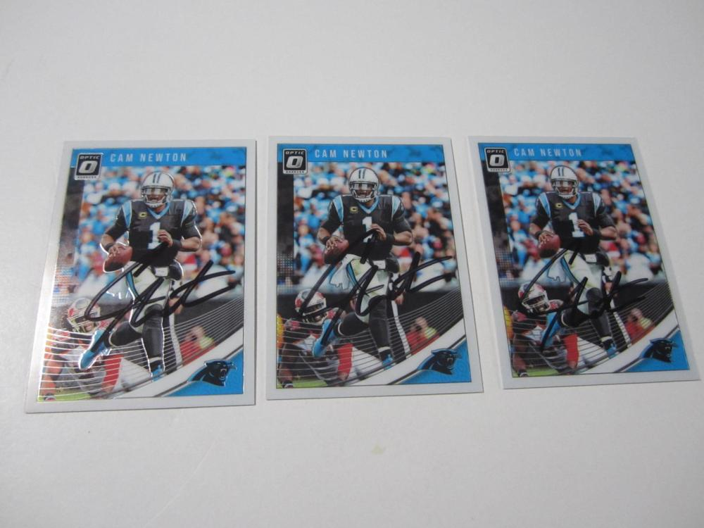 (3)CAM NEWTON SIGNED AUTOGRAPHED PANTHERS CARD COA