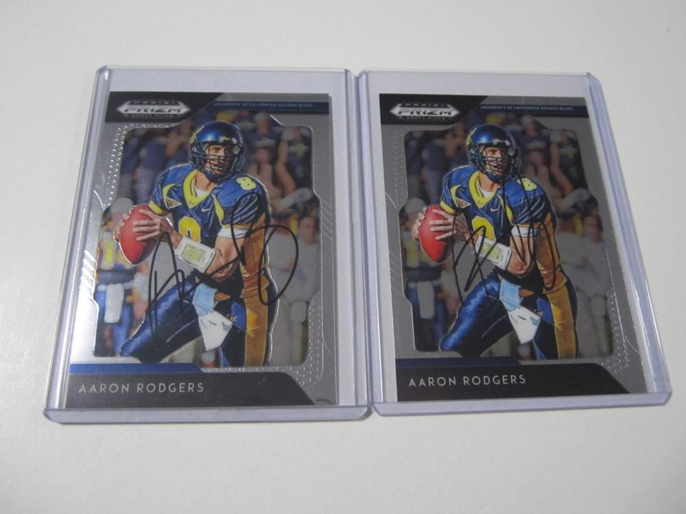 (2)AARON RODGERS SIGNED AUTOGRAPHED CARD COA