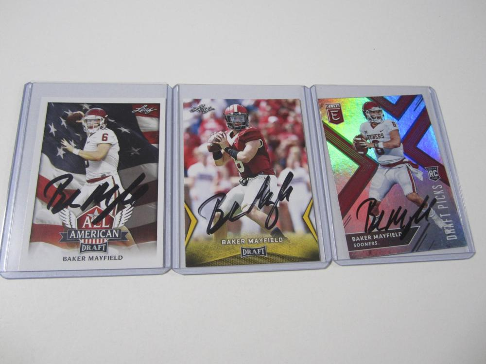 Lot 44: (3)BAKER MAYFIELD SIGNED AUTOGRAPHED SOONERS CARD COA