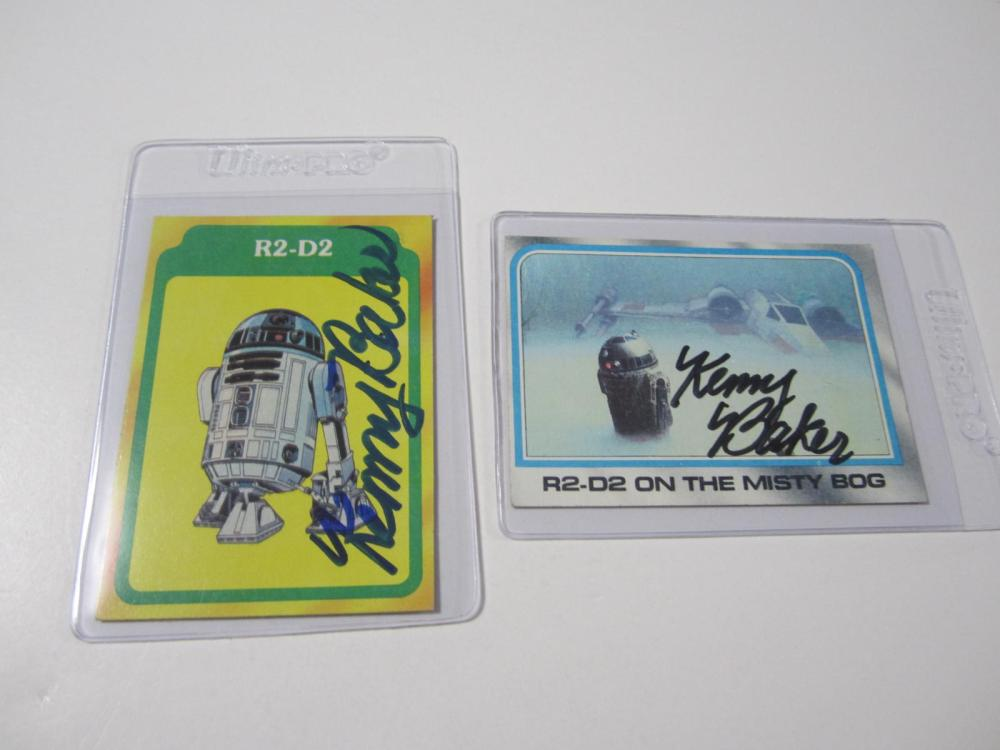 (2)KENNY BAKER SIGNED AUTOGRAPHED STAR WARS CARD COA