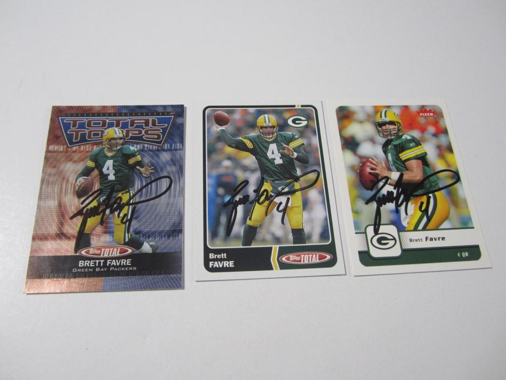 Lot 55: (3)BRETT FAVRE SIGNED AUTOGRAPHED PACKERS CARD COA