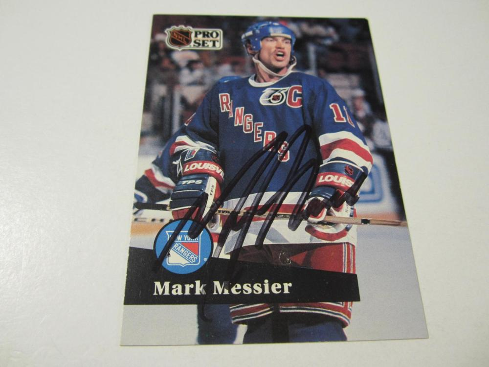 MARK MESSIER SIGNED AUTOGRAPHED RANGERS CARD COA