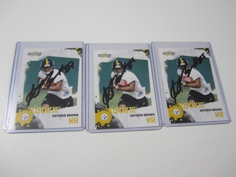 Lot 46: (3)ANTONIO BROWN SIGNED AUTOGRAPHED STEELERS CARD COA