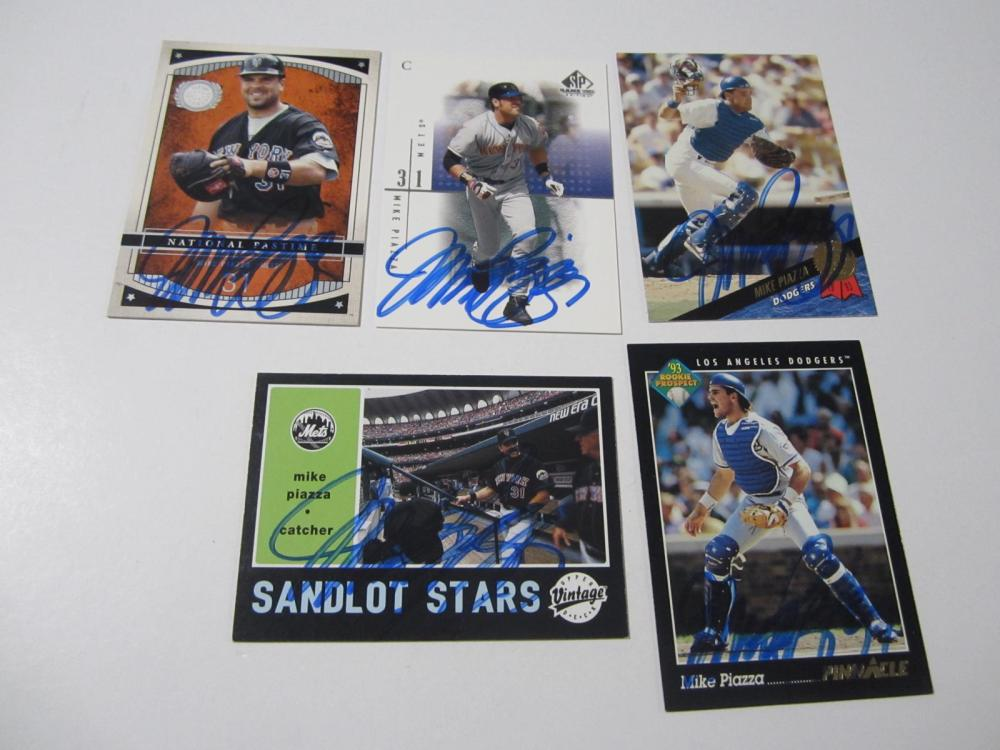 Lot 58: (5)MIKE PIAZZA SIGNED AUTOGRAPHED CARD COA
