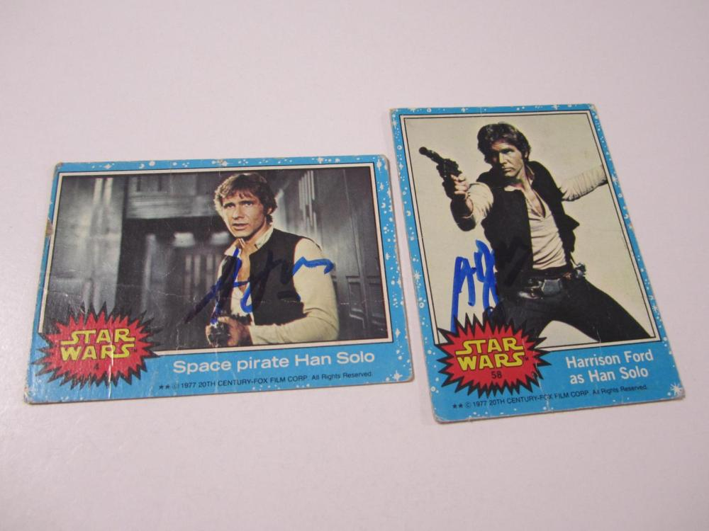 Lot 65: (2)HARRISON FORD SIGNED AUTOGRAPHED STAR WARS CARD COA