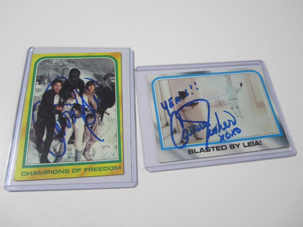 (2)CARRIE FISHER SIGNED AUTOGRAPHED STAR WARS CARD COA