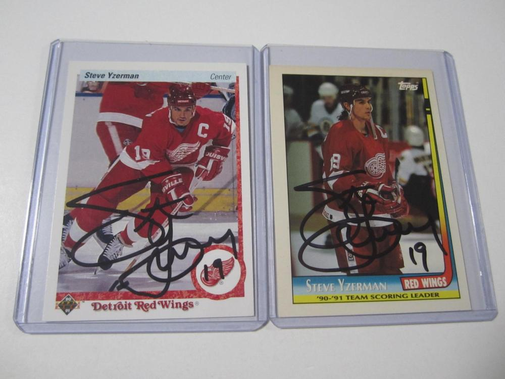 (2)STEVE YZERMAN SIGNED AUTOGRAPHED REDWINGS CARD COA