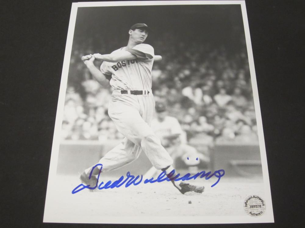Lot 69: TED WILLIAMS SIGNED AUTOGRAPHED RED SOX 8X10 COA