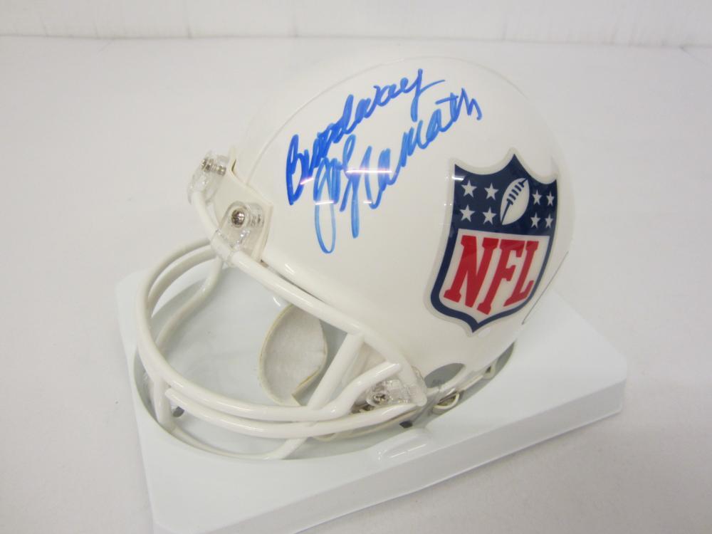 Lot 106: NFL SIGNED MINI HELMET CERTIFIED COA ELWAY,MONTANA,NAMATH