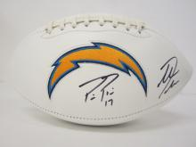Lot 99: PHILLIP RIVERS,ANTONIO GATES SIGNED AUTOGRAPHED CHARGERS FOOTBALL COA