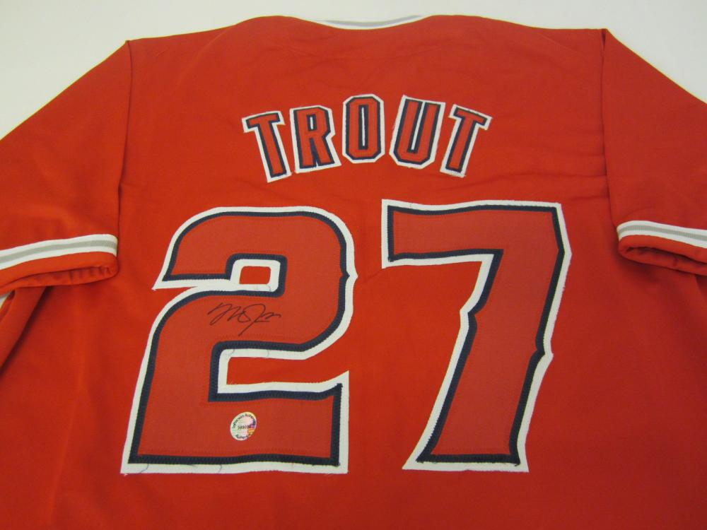 MIKE TROUT SIGNED AUTOGRAPHED ANGELS JERSEY COA