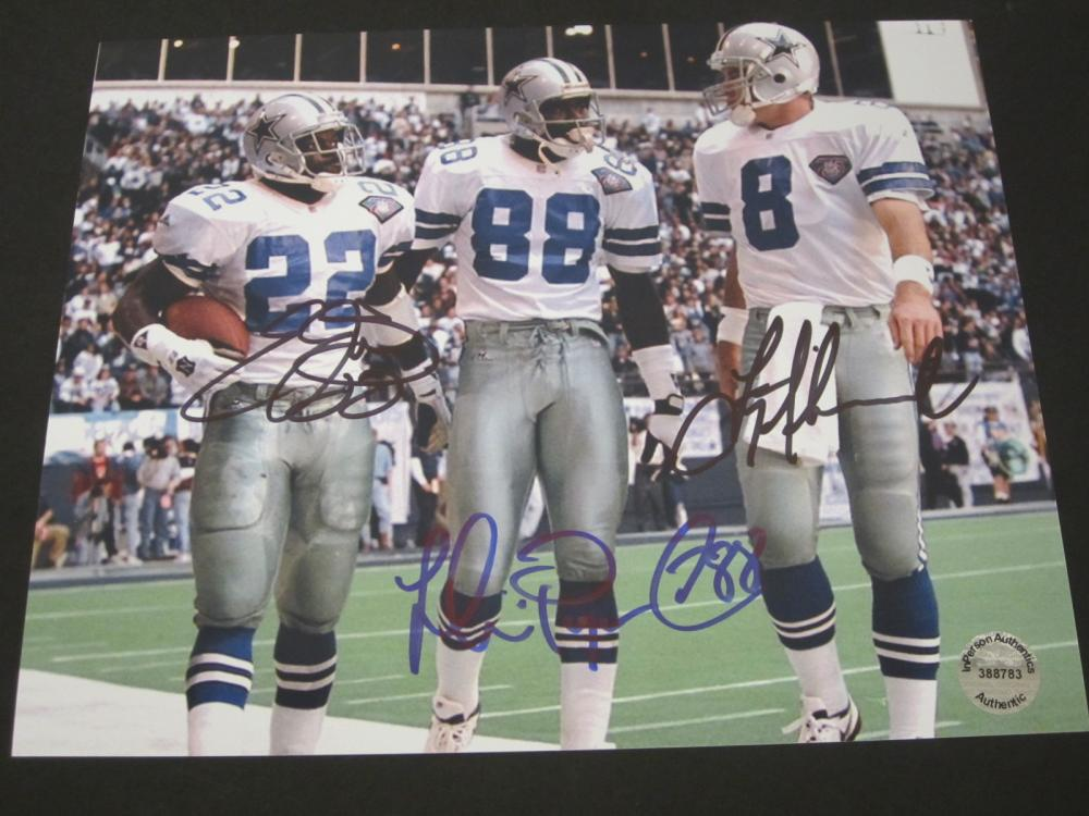 IRVIN,SMITH,AIKMAN SIGNED AUTOGRAPHED COWBOYS 8X10 COA