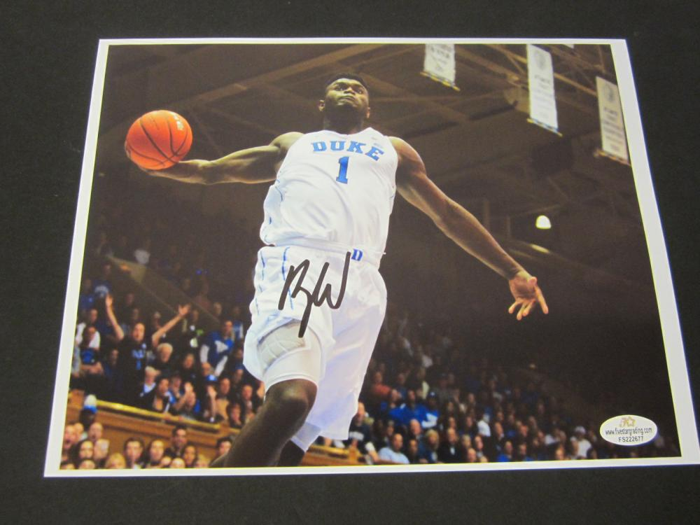 Lot 174: ZION WILLIAMSON SIGNED AUTOGRAPHED DUKE 8X10 COA