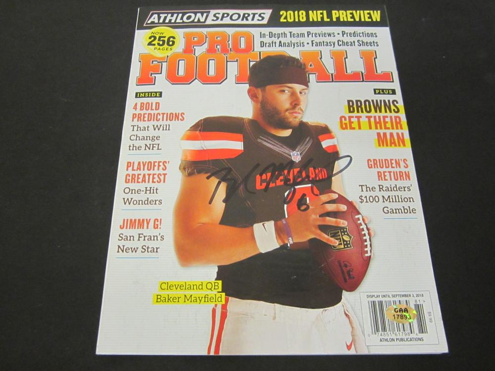 Lot 196: BAKER MAYFIELD SIGNED AUTOGRAPHED MAGAZINE COA