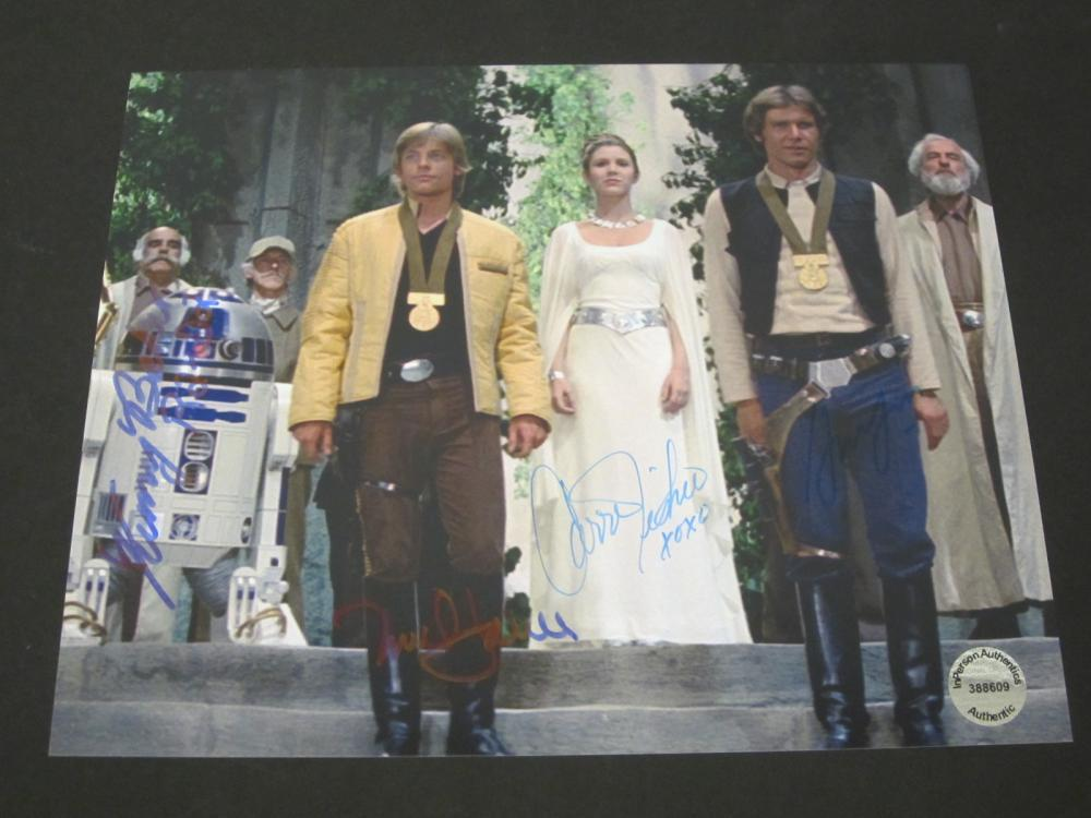 Lot 223: STAR WARS CAST SIGNED 8X10 COA BAKER,FISHER,HAMILL,FORD