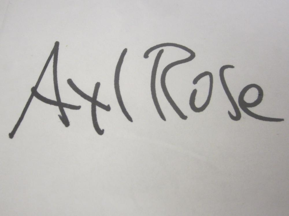 Lot 235: AXL ROSE SIGNED AUTOGRAPHED RECORD COA