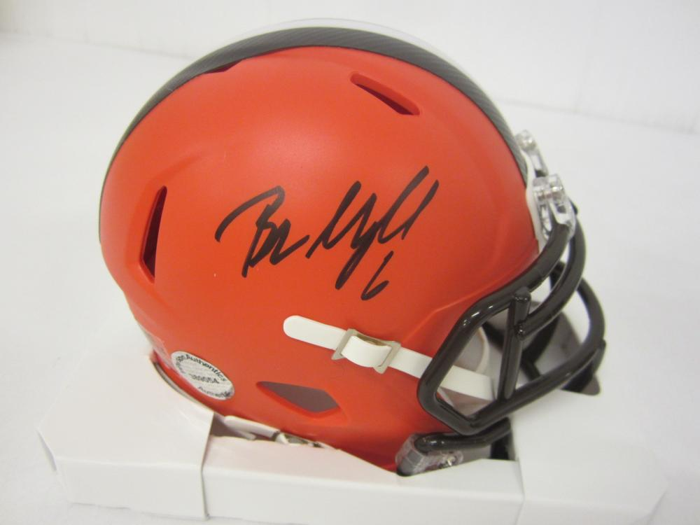 Lot 262: BAKER MAYFIELD SIGNED AUTOGRAPHED BROWNS MINI HELMET COA