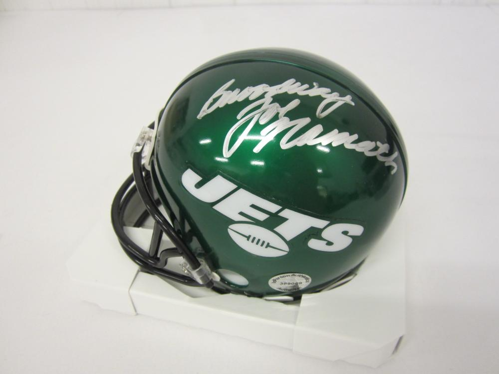 Lot 253: JOE NAMATH SIGNED AUTOGRAPHED JETS MINI HELMET COA