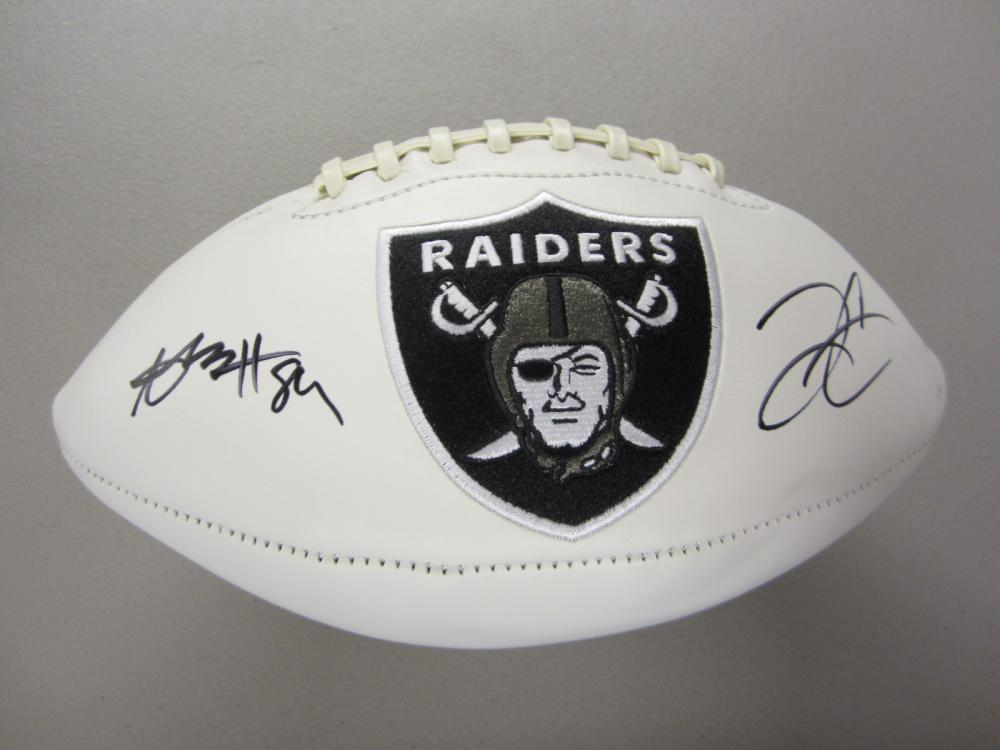 Lot 340: ANTONIO BROWN,DEREK CARR SIGNED AUTOGRAPHED RAIDERS FOOTBALL COA