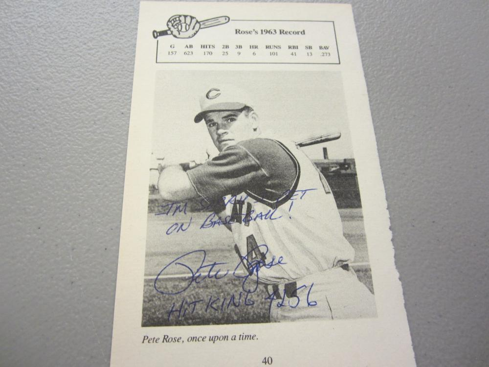 Lot 459: PETE ROSE SIGNED AUTOGRAPHED REDS PAGE COA