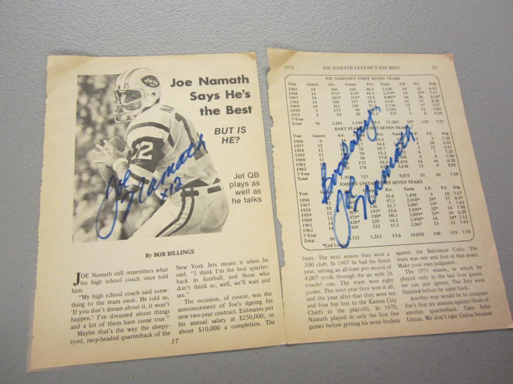 Lot 460: (2)JOE NAMATH SIGNED AUTOGRAPHED JETS PAGES COA
