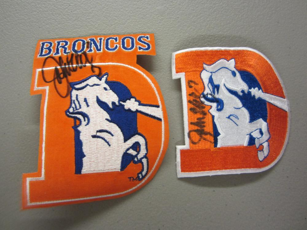 Lot 454: (2)JOHN ELWAY SIGNED AUTOGRAPHED BRONCOS PATCHES COA