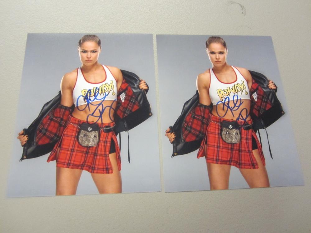Lot 529: (2)RONDA ROUSEY SIGNED AUTOGRAPHED WWE 8X10 COA