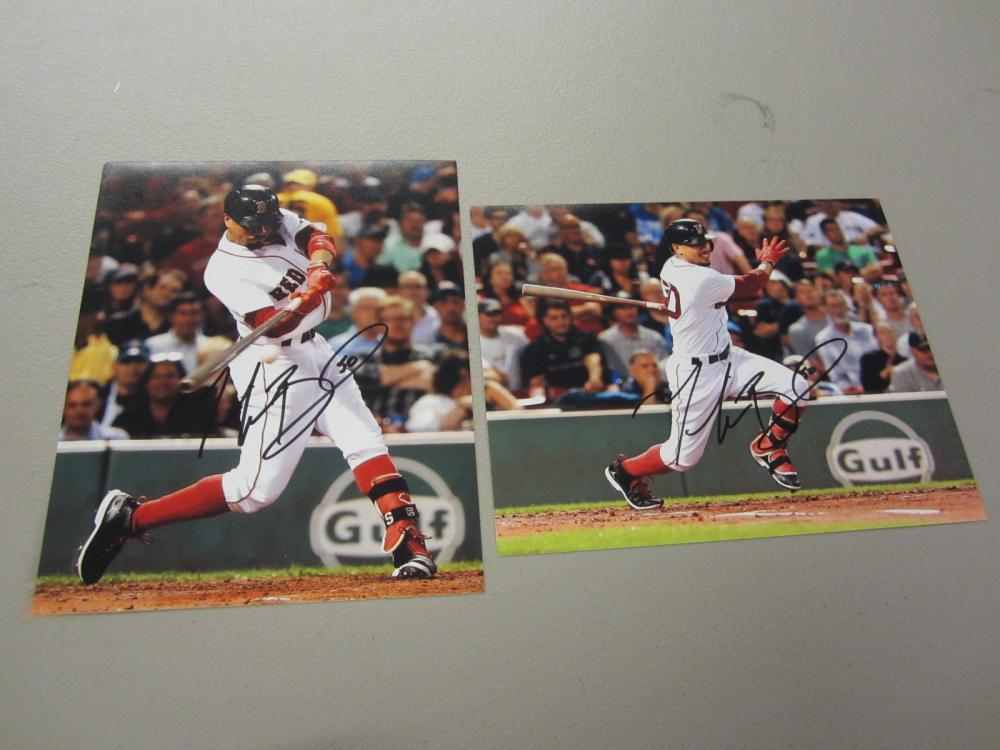 Lot 532: (2)MOOKIE BETTS SIGNED AUTOGRAPHED RED SOX 8X10 COA