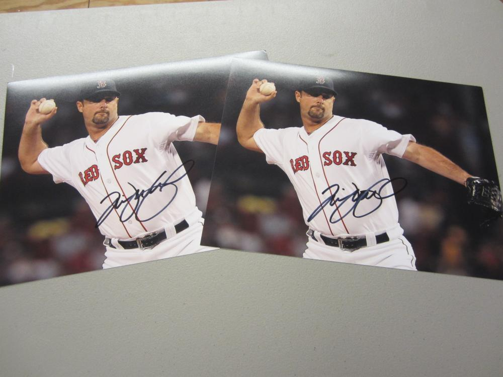 Lot 594: (2)TIM WAKEFIELD SIGNED AUTOGRAPHED RED SOX 8X10 COA