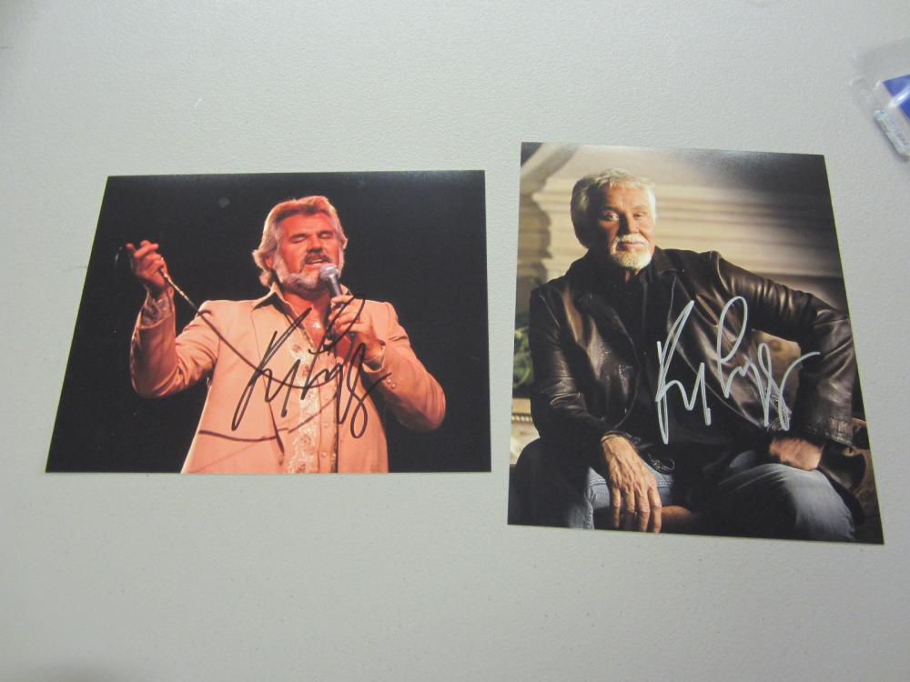 Lot 591: (2)KENNY ROGERS SIGNED AUTOGRAPHED 8X10 COA