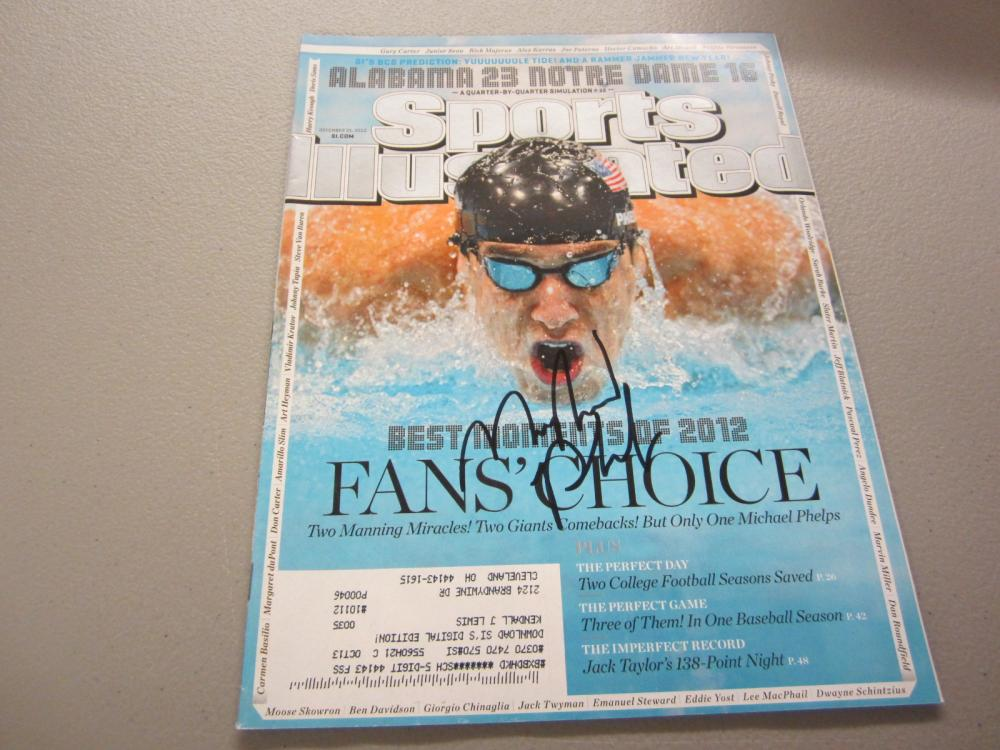 Lot 603: MICHAEL PHELPS SIGNED AUTOGRAPHED SI MAGAZINE COA